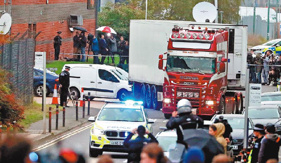 39人命丧货柜车,英警方正在核实遇难者身份.jpg